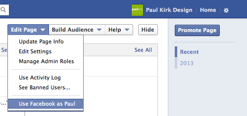Facebook business to personal account menu