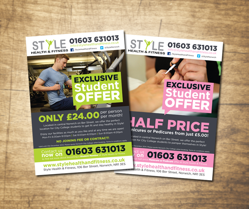 Paul Kirk - Style HEalth & Fitness City College postcard / flyer design