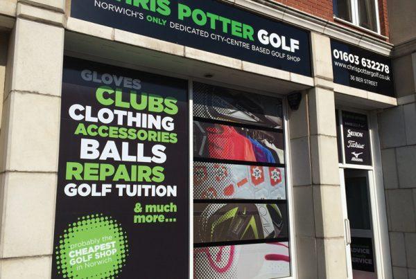 Chris Potter Golf shopfront design - Paul Kirk Design