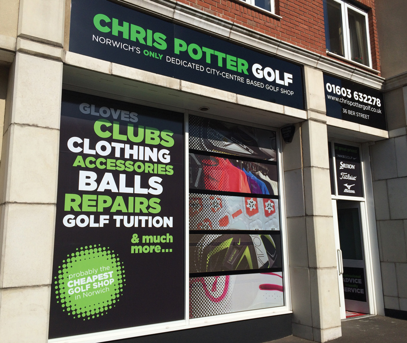 Chris Potter Golf shopfront design - Paul Kirk Design