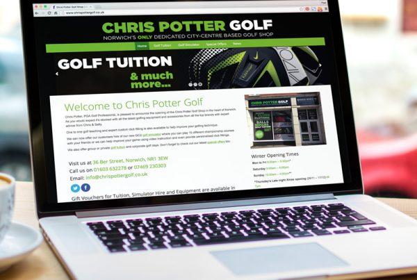 Chris Potter Golf website design - Paul Kirk Design