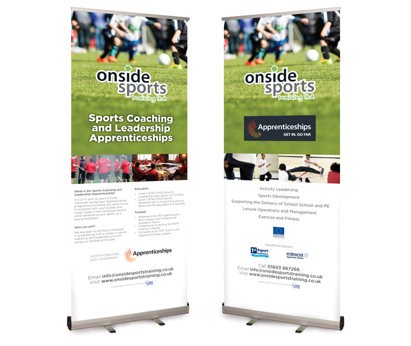 Onside Sports Trainig Pop-up Banner designs - Paul Kirk Design