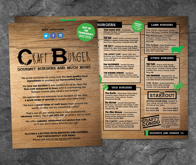 Craft Burger menu design - Paul Kirk Design