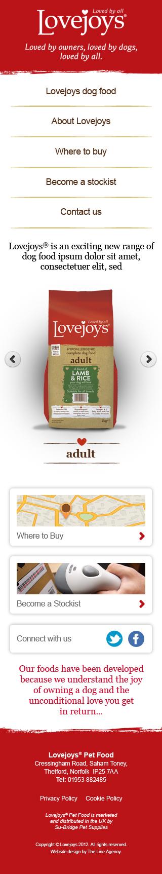 Lovejoys Pet Food website design