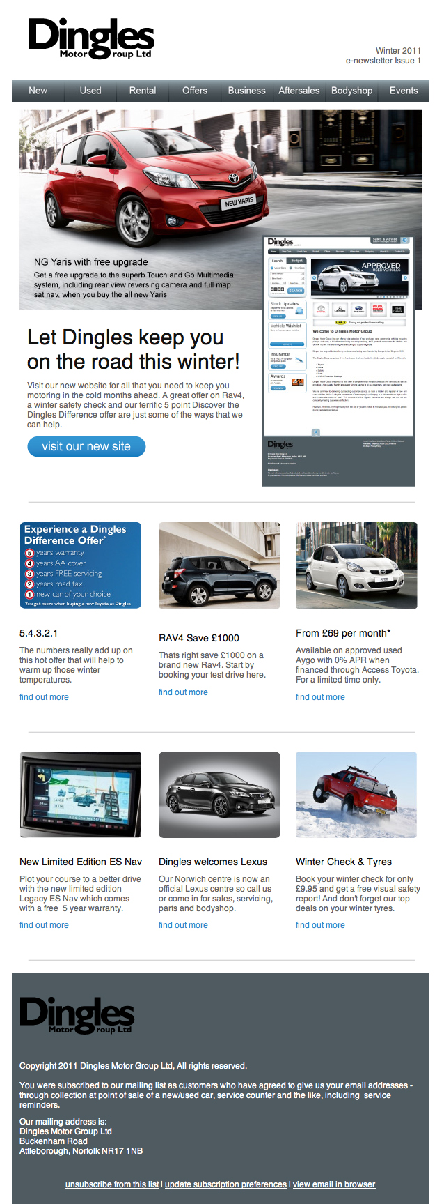 Dingles Motor Group e-newsletter