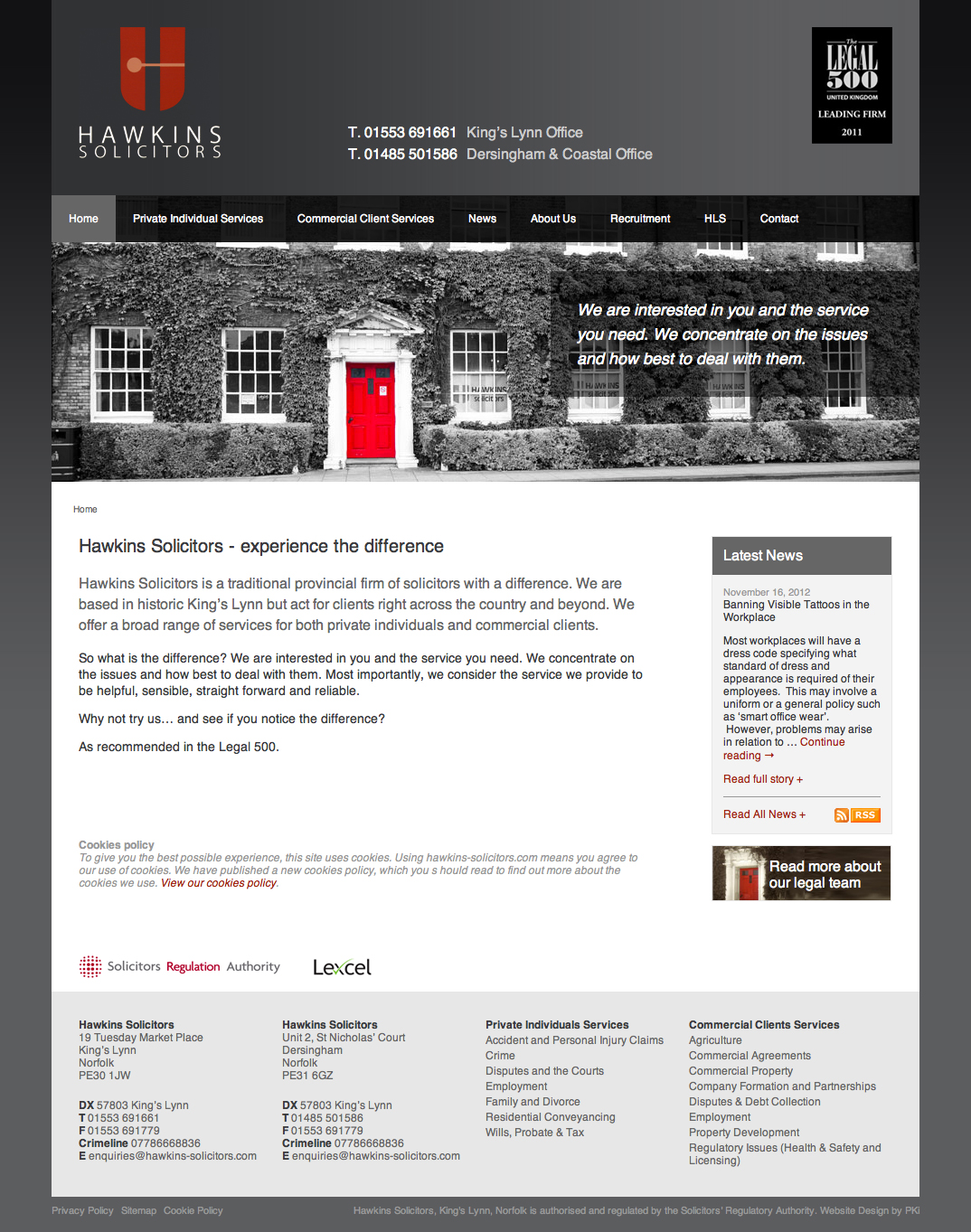 Hawkins Ryan Solicitors web design