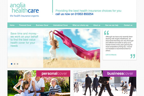 Anglia Healthcare web design