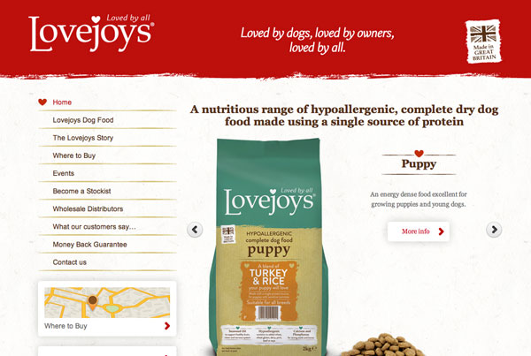 Lovejoys Pet Food web design