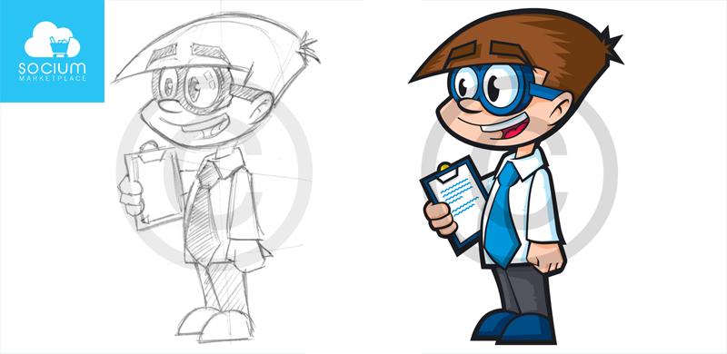 Socium Marketplace kid character illustration