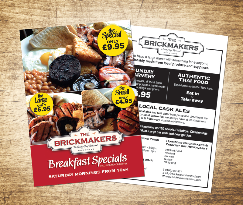 Food Offer posters for the Brickmakers Pub, Horsford