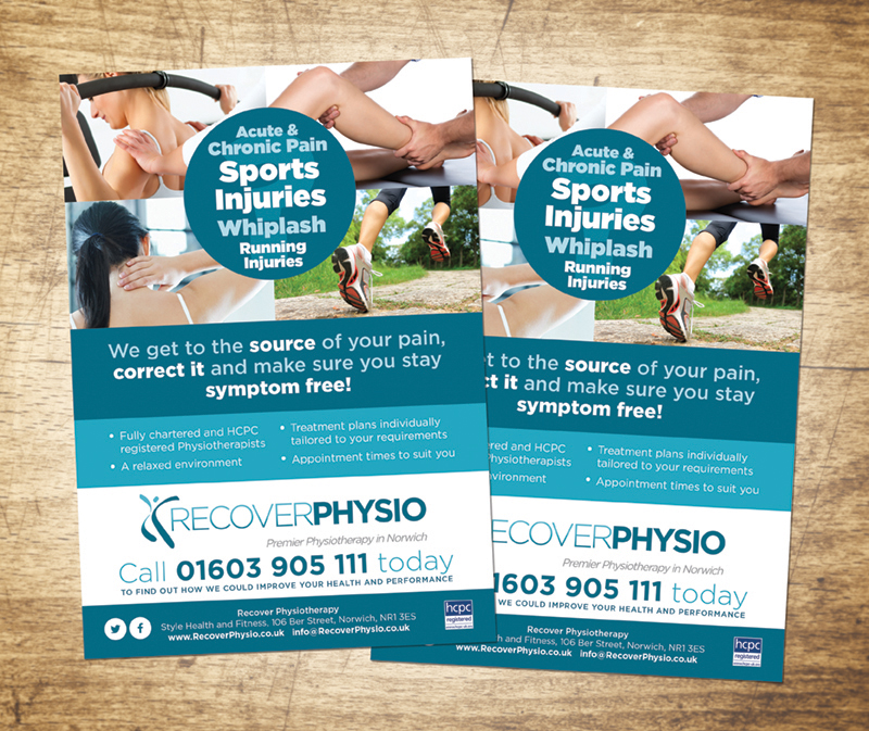 Recover Physio, Norwich leaflet design by Paul Kirk Design