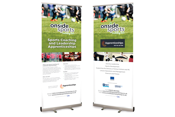 Onside Sports Training Apprenticeships Pop-up Banner Designs