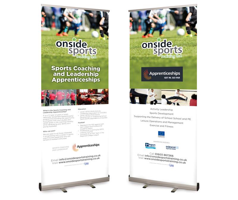 Onside Sports Trainig Pop-up Banner designs - Paul Kirk Design