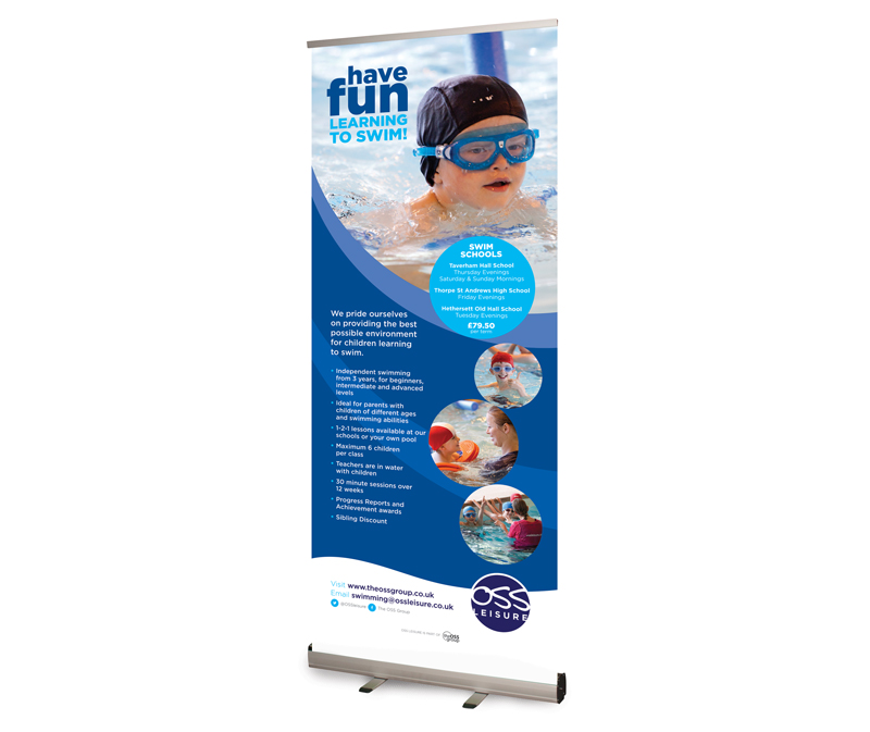 OSS Leisure Swim School Pop-up Banner - Paul kirk Design
