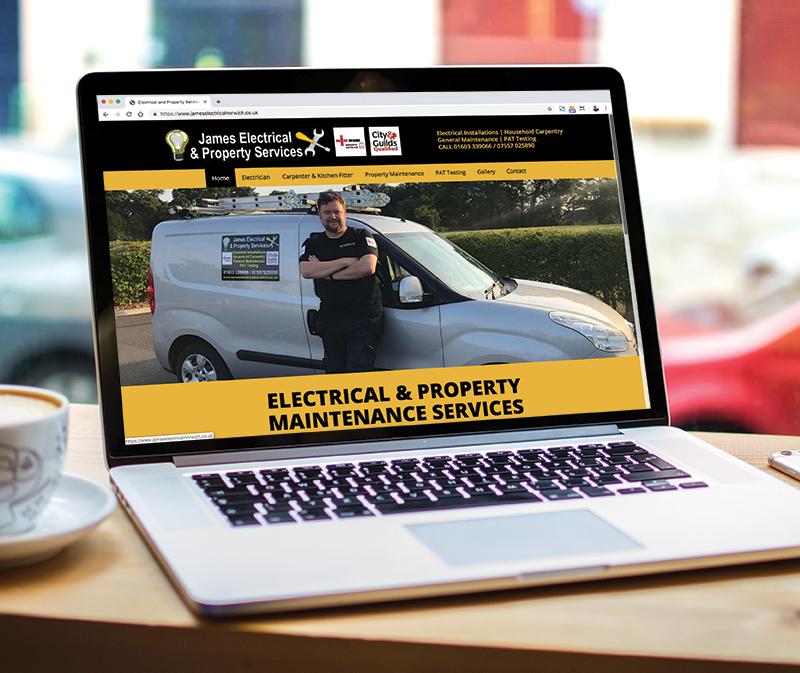 Paul Kirk Design - James Electrical & Property Services website design