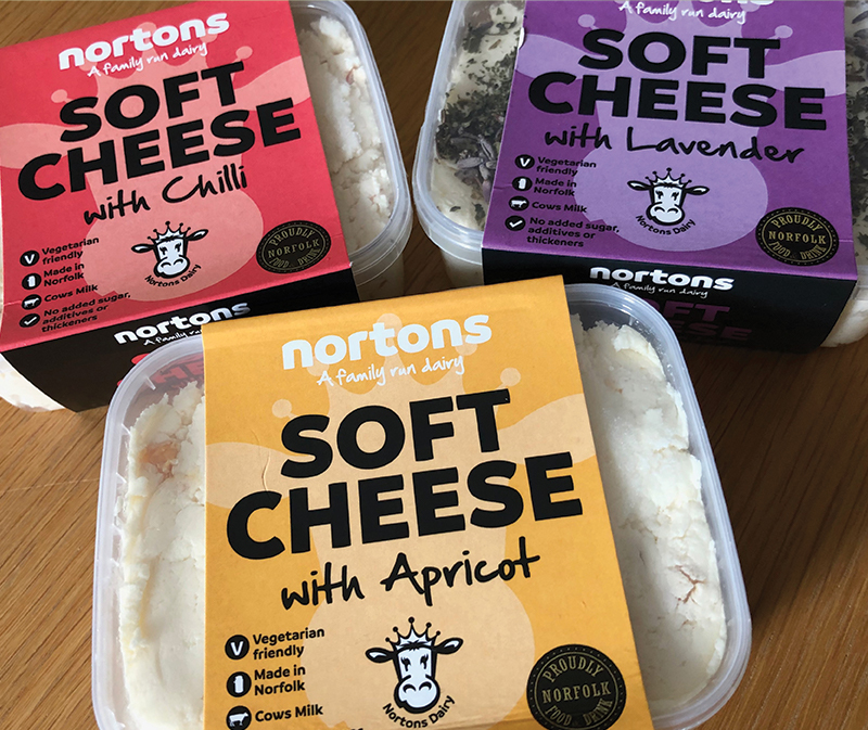 Nortons Dairy Soft Cheese packaging design - Paul Kirk Design